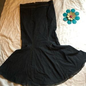 Dresses & Skirts - Long denim straight skirt with flare at the bottom